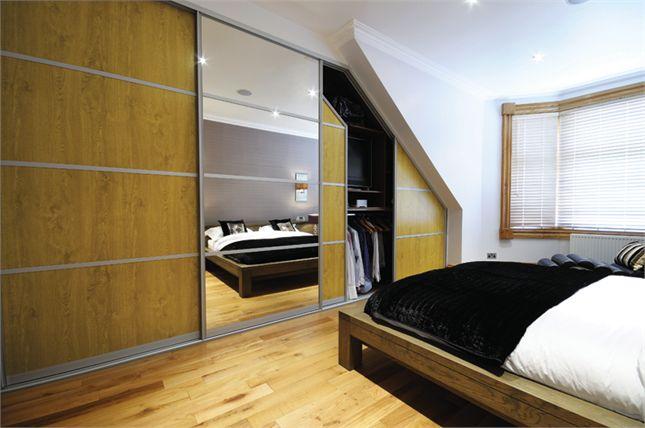 Oak & Mirror Oriental Sliding Wardrobe