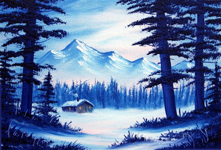 Snowbound Cabin (5x7) / Small Oil Painting Exercise