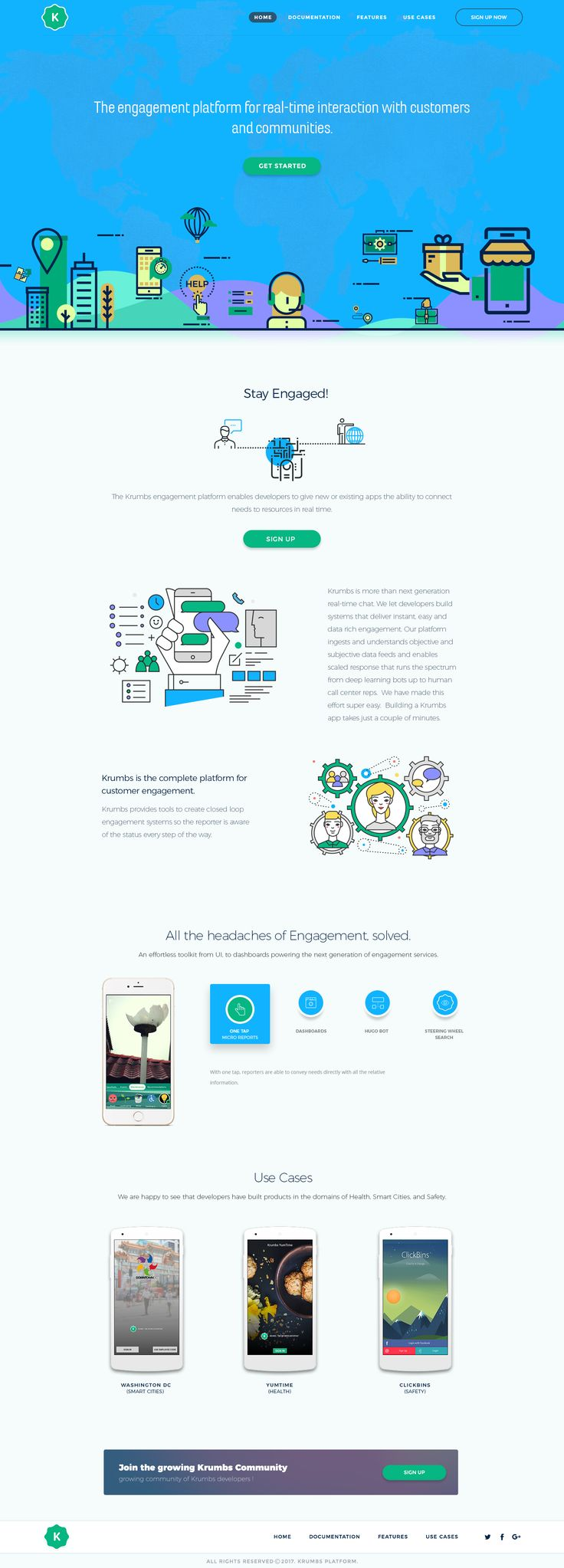 23 inspirational landing page design ideas. Colorful flat design characters by Sarah Studio bring to life this landing page for tech startup Krumbs #design #web #marketing