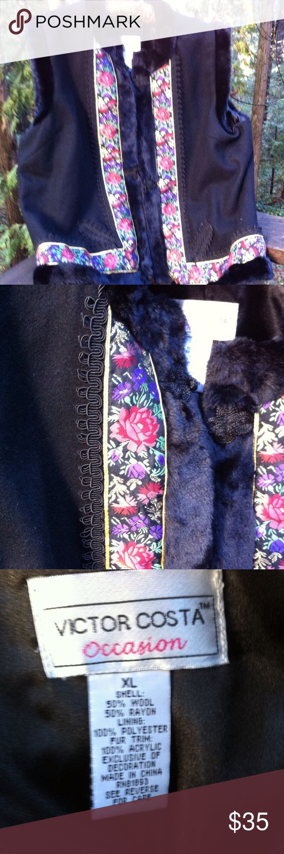 Black wool dressy vest Soft black wool vest end he'd in fax fur , embellished with accents of black braiding , gold lama and floral print, fully lined and light weight , great for layering. A 'Kristens Find' posh on girlfriend;) victor costa Jackets & Coats Vests