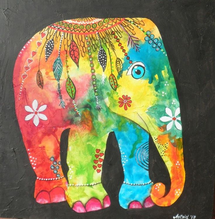 Elephant-Home Decor-Animal-Child's Nursery - Original Painting by Astrid