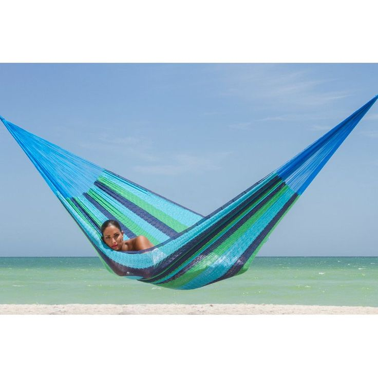 Queen Size Mixed Blues Cotton Mexican Hammock - Heavenly Hammocks