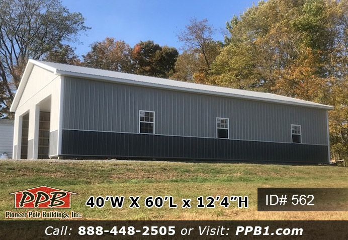 40 W X 60 L X 12 4 H Id 562 Garage Pole Buildings Building Pitch Colour
