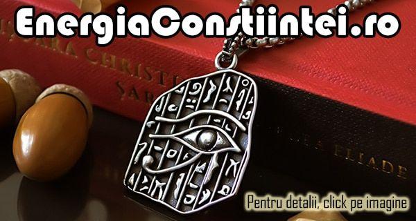 """""""Pandantiv Ochiul RA / Horus, Amuletă, Talisman, Medalion, Simbol Sacru, RA, HORUS, INOX – cod PND014 Condiție: Nou Model: Unisex Metal: INOX 316L Culoare: Argintiu, Negru Greutatea: 9g Înălțime: 66mm Lățime: 28mm"""""""
