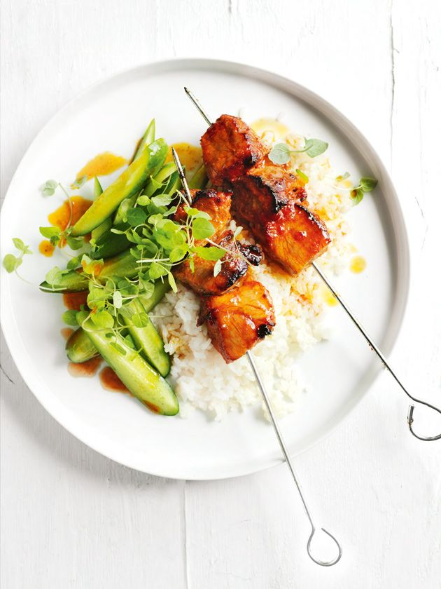 chilli and lime pork skewers with buttered ginger rice