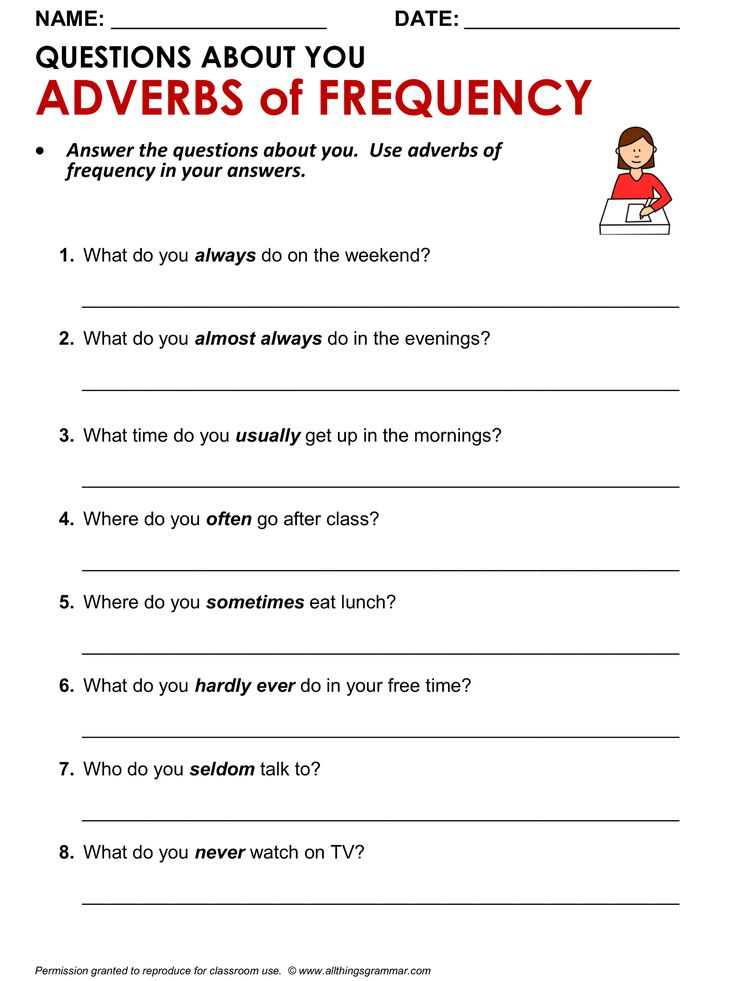 English Grammar & Writing Practice, 'Questions About You', Adverbs of Frequency. http://www.allthingsgrammar.com/adverbs-of-frequency.html