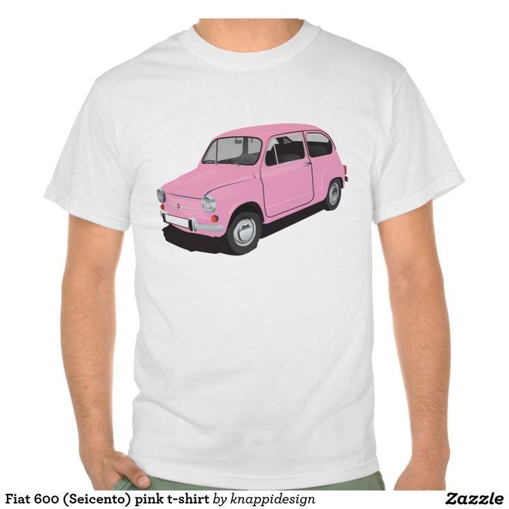Fiat 600 (Seicento) pink t-shirt  Fiat 600 (Seicento) black t-shirt  #fiat #fiat600 #seicento #tshirt #tshirts #tpaita #troja #skjorta #italy #automobile #bilar #auto #classic #vintage #pink