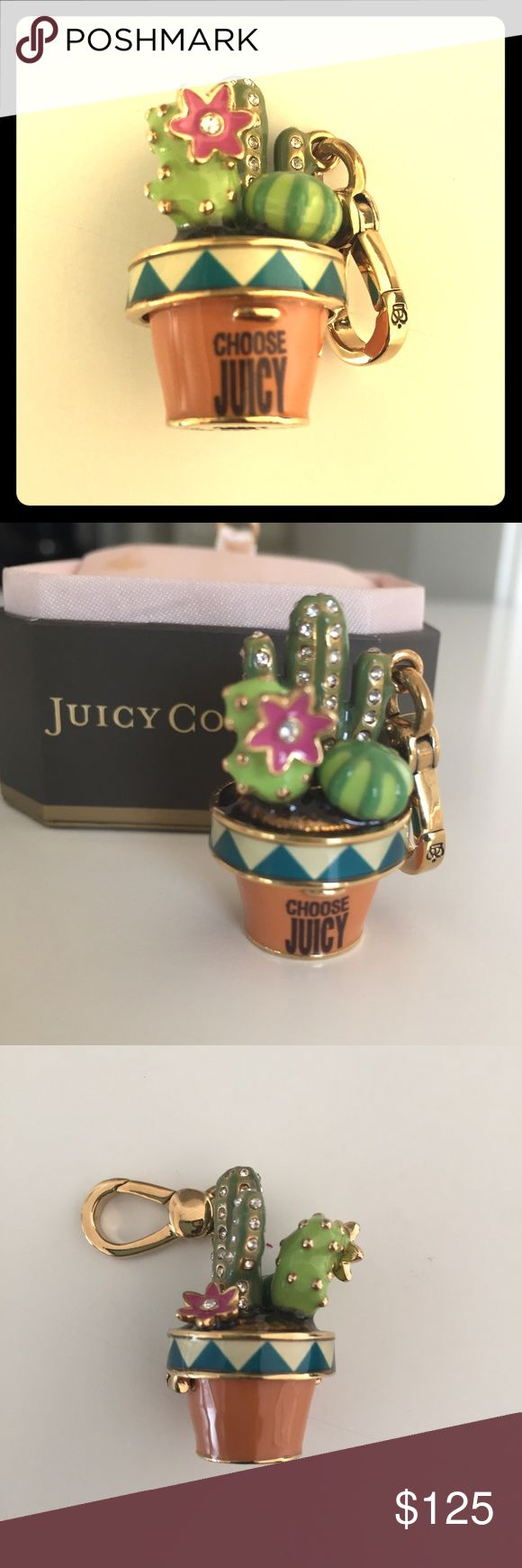 Juicy Couture Cactus Charm RARE This Cactus  Charm is Adorable! Authentic JUICY COUTURE A Miniature Ode to Your Personal Style Condition: Brand New in Original Tagged Juicy Couture (but Box but box has some spotting on it) Closure Style: Lobster Clasp Details: Gold Plated Brass with Juicy Crown on Clasp, Cactus opens up       A Juicy Charm Can Go Anywhere You Go! Add it to your Charm Bracelet, Hang it on your Purse, Clip it onto your Necklace, Your Cell Phone, Your Back-Pack, Etc.  Show Your…