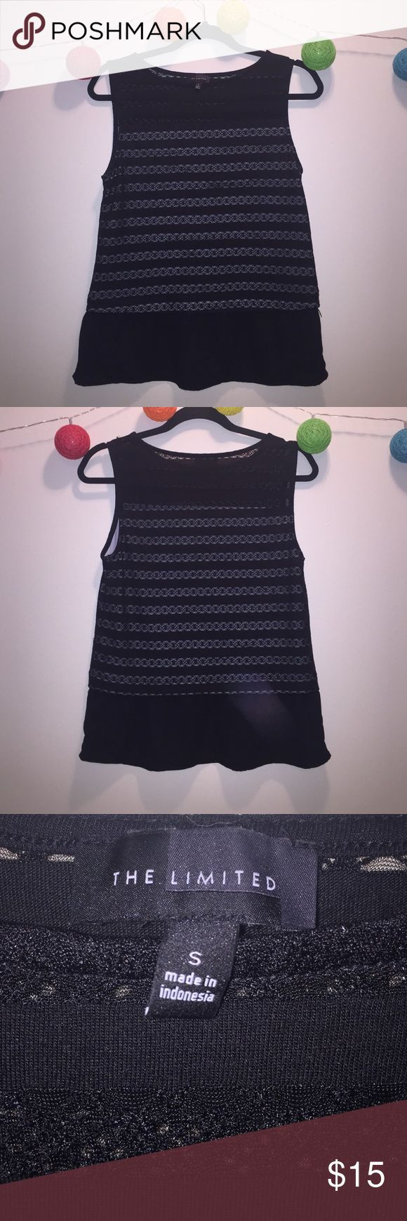 The Limited Black Peplum Shirt The Limited Black Peplum Shirt. Cute design. Great for layering. Cute over pants or tucked into a skirt. Great quality. The Limited Tops Tank Tops