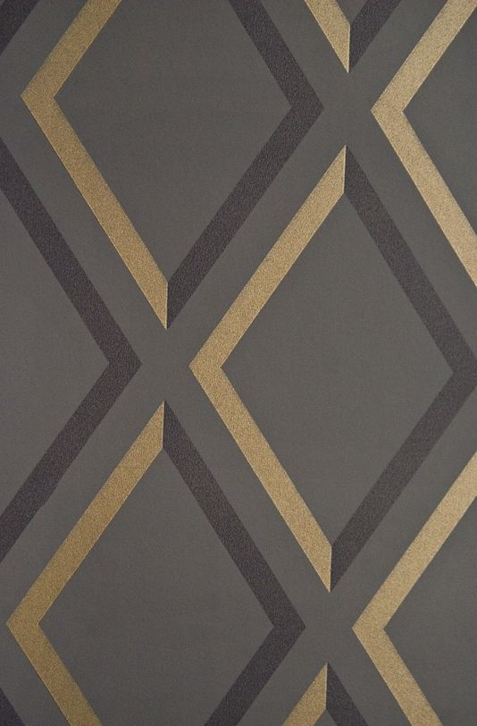 Pompeian Trellis Wallpaper Geometric Charcoal and Black diamond trellis effect wallpaper with metallic gilver embellishment.