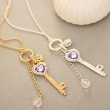 mode vintage zilveren kleuren en lange keten hart sleutel hanger bedel ketting gift(China (Mainland))
