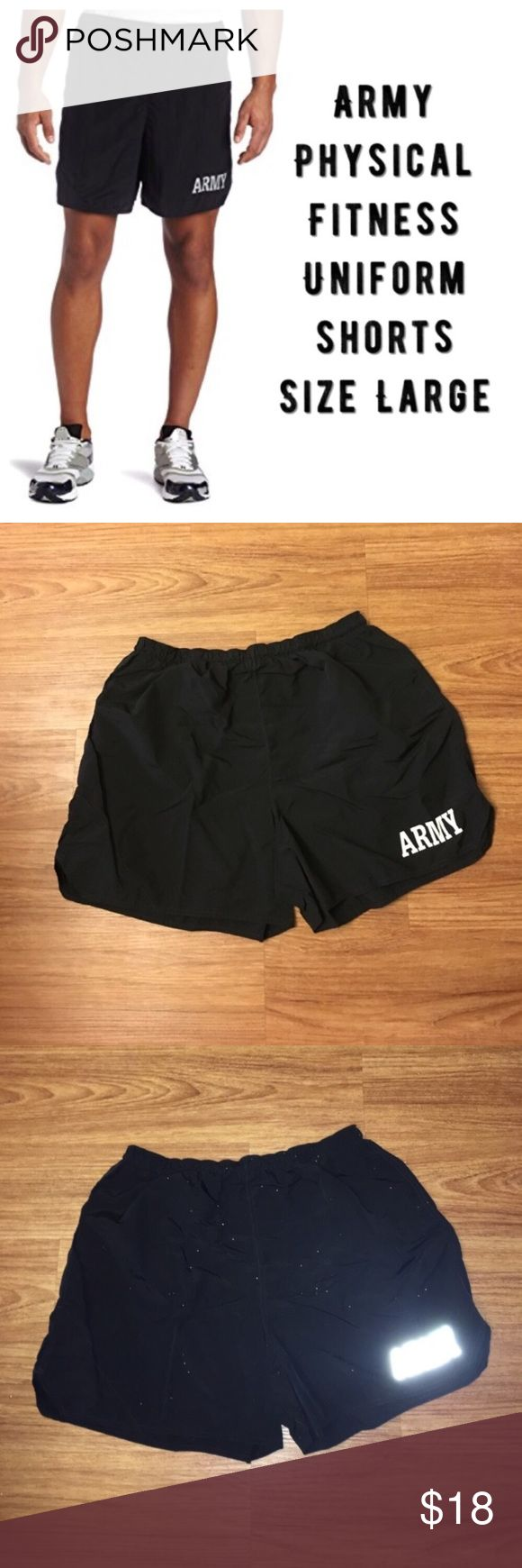 "Army Physical Fitness shorts: all 5 are size Large Same day shipping (as long as P.O. is open for business). ❤ Measurements are approximate. Descriptions are accurate to the best of my knowledge.  Price FIRM (unless bundled). Price is for ONE pair. All size large. No inner tags. They are a synthetic blend. Front: ARMY reflective. No holes/stains. Smoke/pet free home. Flat measurements: 15"" across waist, 5"" inseam. Inner drawstring, small inner waist pocket, ID card pocket outside of right…"