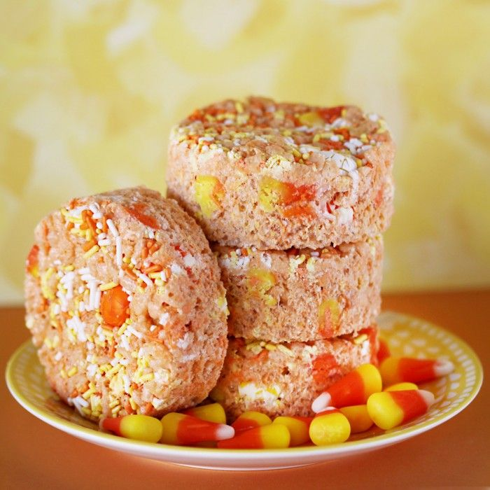 Candy Corn White Chocolate Rice Crispy Treat