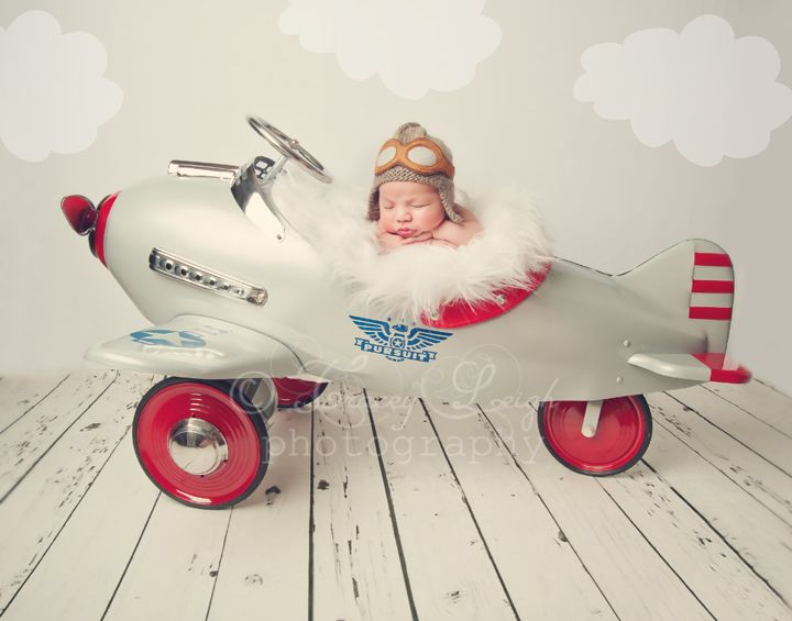 Newborn photography portrait one day airplane plane