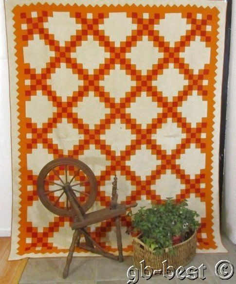 A Slice of Cheddar Red 1870 80s Irish Chain Antique Quilt 93 x 75 Primitive | eBay