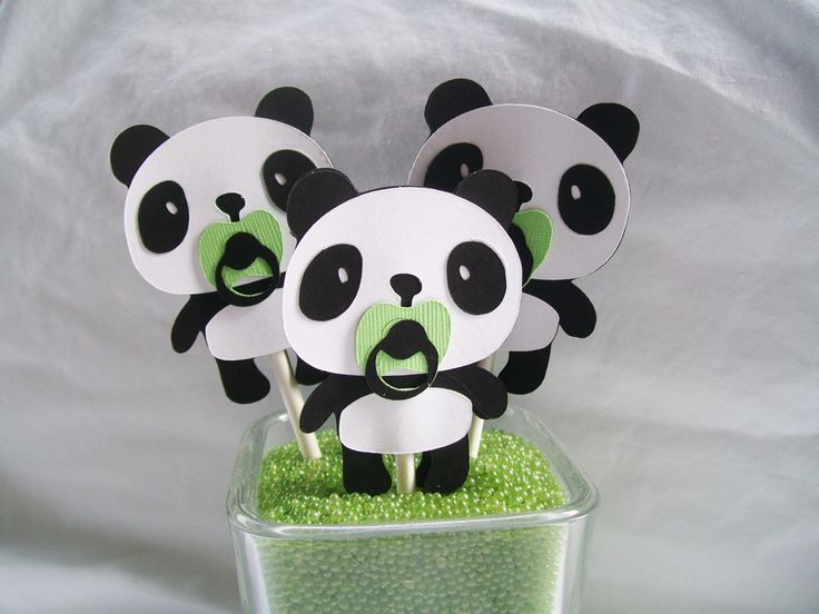 Panda bear cupcake toppers baby shower