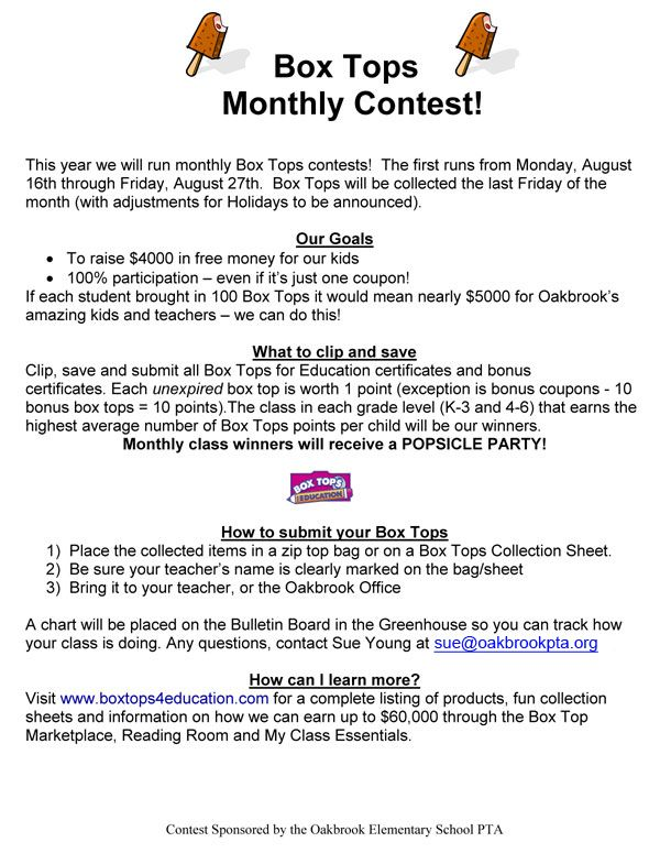 box tops monthly contest organized idea
