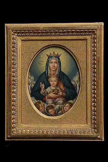 Crowned Madonna with Baby Jesus Antique Italian Miniature Oil on Copper
