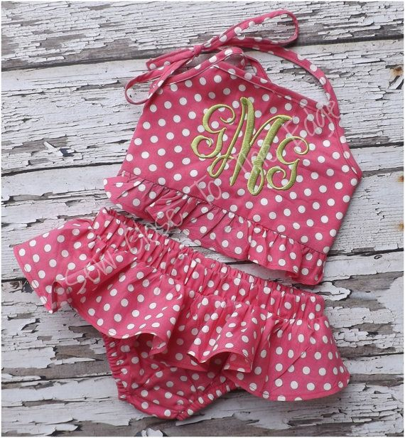 Custom Boutique Girls Pink Dot Ruffled by SewCloseToTheEdge
