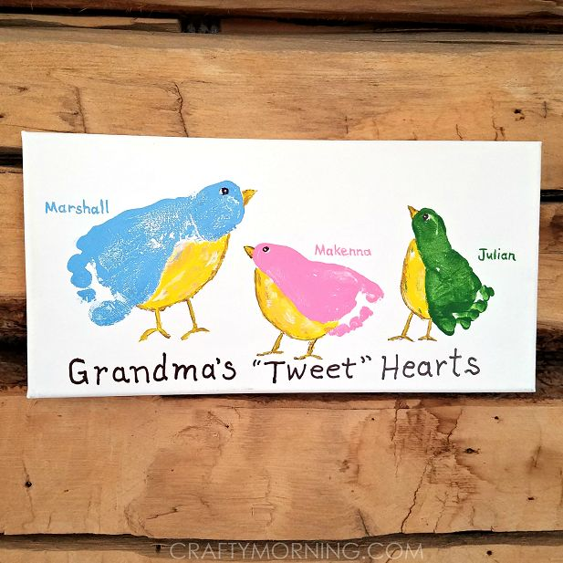 """Here's a cute gift idea for grandma's out there from their grandchildren! Just paint their feet and stamp it on a canvas, then write their names and """"Grandma's 'Tweet' Hearts"""" so cute! These were made by Ashley's son and niece/nephew from Art with Ashley! You could make the birds any color paint that you want …"""