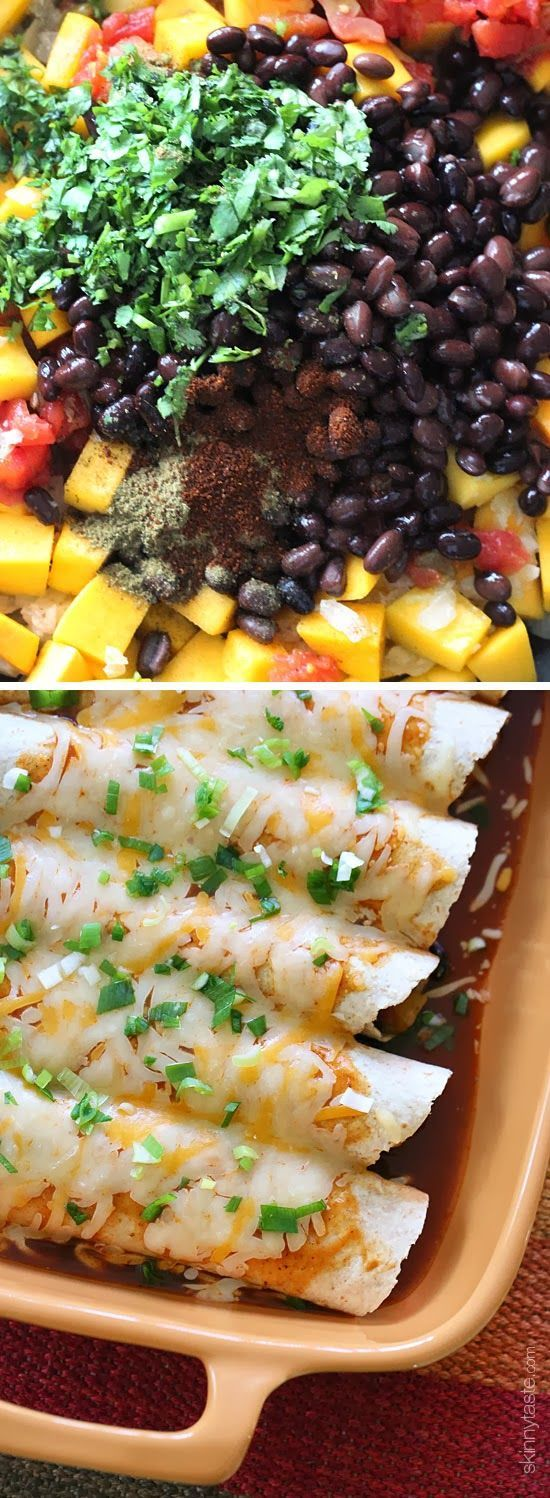 Butternut Squash and Spicy Black Beans topped with enchilada sauce and cheese – perfect for meatless Mondays, or any day of the week!: Butternut Squash, Sour Cream, Meatless Mondays, Beans Enchiladas, Beans Tops, Black Beans, Black Bean Enchiladas, Meatless Enchiladas, Corn Tortillas