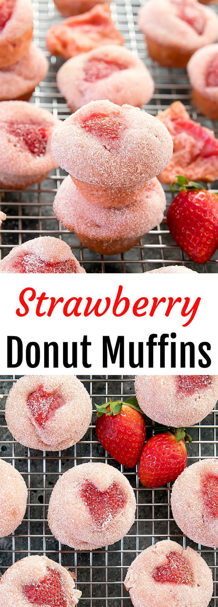 Strawberry Donut Muffins. Light and fluffy with a mild strawberry flavor. Perfect for Valentine's Day!