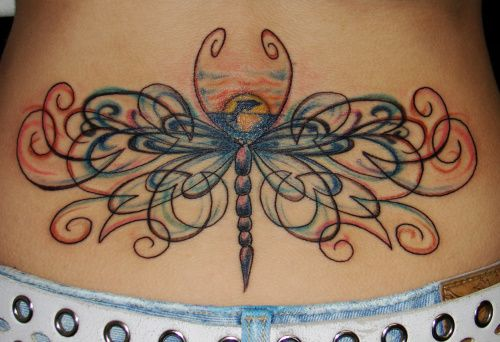 Lower back Design: Tattoo Ideas, Body Art, Tattoo Design, Butterflies Tattoo, Dragon Flying, Dragonfly Tattoo, Lower Backs, Lower Back Tattoo, Bodyart