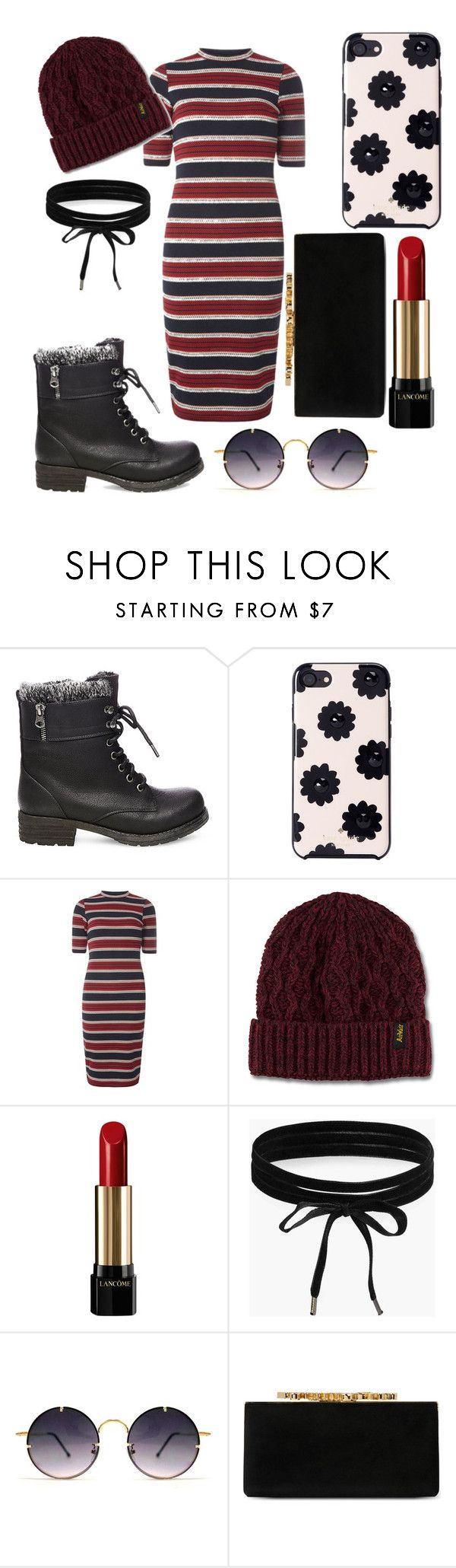 """lazy Sunday church outfit #whatiwouldwear"" by lisabeebe010 ❤ liked on Polyvore featuring Steve Madden, Kate Spade, Dorothy Perkins, Dr. Martens, Lancôme, Boohoo, Spitfire and Jimmy Choo"