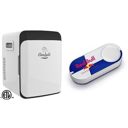 Cooluli Electric Mini Fridge Cooler and Warmer (15 Liter/18 Can): AC/DC Portable Thermoelectric System (White) & Red Bull Dash Button