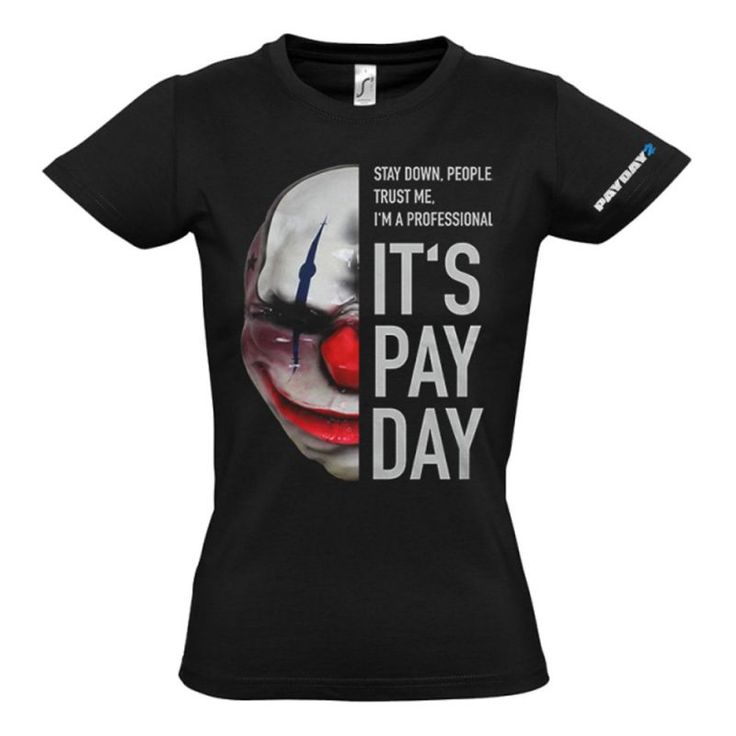 Payday 2 Womens Chains Mask Medium T-shirt This high quality black womens t-shirt is made from 100% cotton material. It features Chains clown mask with the slogans Stay Down People. Trust Me Im a Professional and Its Payday as well as the game http://www.MightGet.com/march-2017-1/payday-2-womens-chains-mask-medium-t-shirt.asp