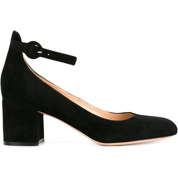 Gianvito Rossi Black Suede 60 Mary Jane Heels (2,010 PEN) ❤ liked on Polyvore featuring shoes, pumps, black, suede block heel pumps, black pumps, black ankle strap pumps, black slip on shoes and black mary jane shoes