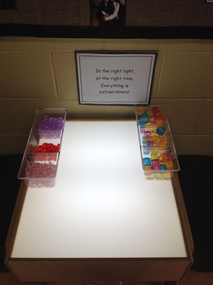 Light Table - in a quiet corner of the room. We added coloured plastic ice cubes that the children used to create games, designs, and for construction.