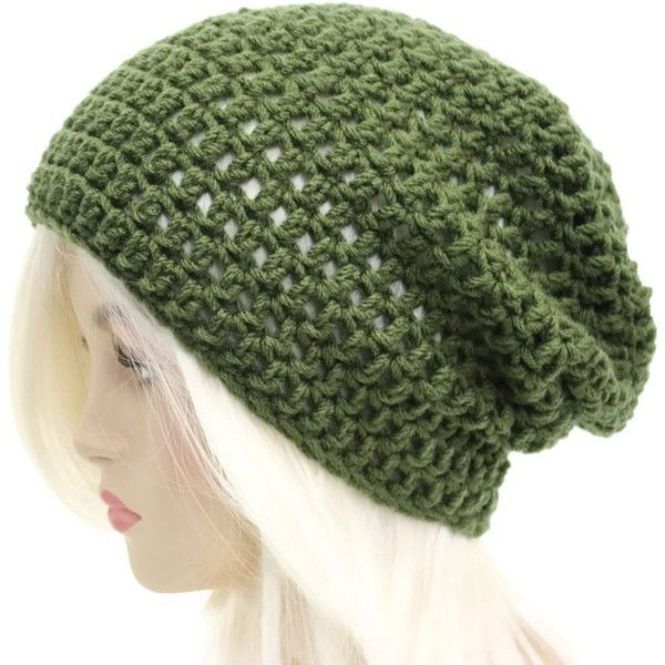 Green Slouchy Beanie Mens Hat Slouch Beanie Womens Crochet Beanie... ($20) ❤ liked on Polyvore featuring accessories, hats, slouchy beanie hats, green beanie hat, crochet beanie hat, hipster hat and slouch hat