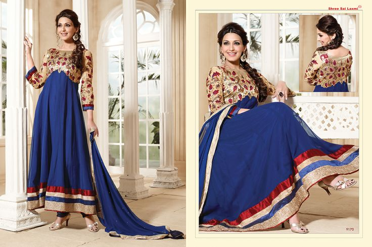 Stunningly Beautiful Navy Blue colored Georgette Anarkali with awesome Embroidery work en-crafted. Comes along with Matching Shantoon Bottom and Chiffon Duppatta finely Embroidered.