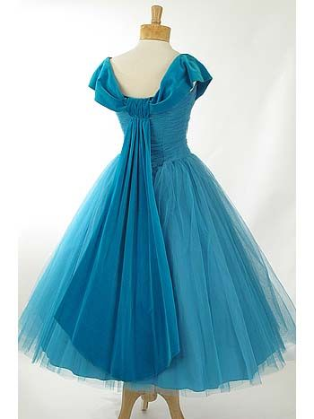 Be still my heart! '50s Dusty Aqua Tulle and Velvet Tea Length Party Dress