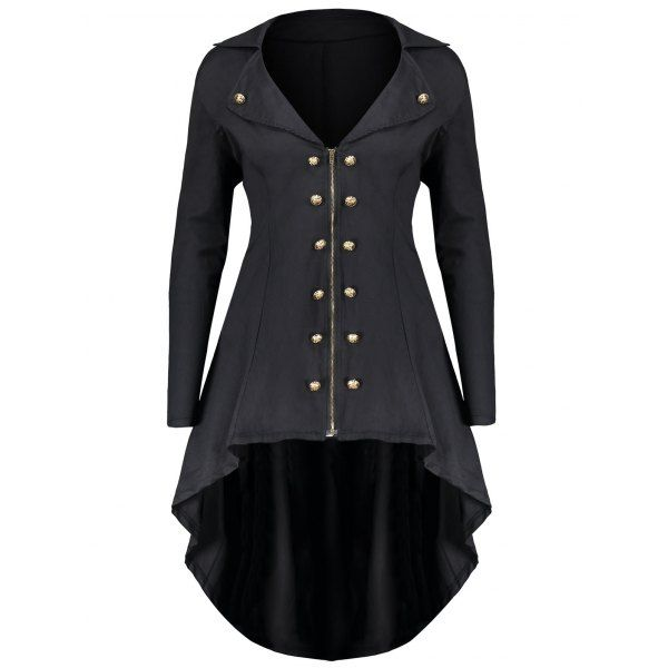 Plus Size UK Vintage Steampunk Hooded Jacket Swing Trench Coat Gothic Outwear