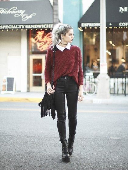 Mickylene Delgado - Tobi Knitty Sweater, Carmar 3180 Wax High Waist Denim, Unif Thrasher Leather Boots - Baby, It's Cold Outside