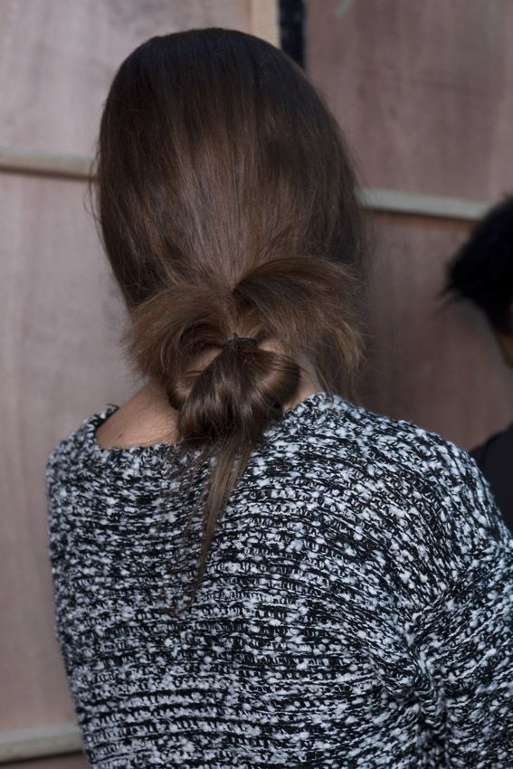 We love this messy low bun created by Stephen Low at Eudon Choi SS16.