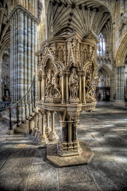 The pulpit - Exeter Cathedral: