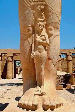 Statue of Ramses II with his daughter Meritamen, Karnak Temple Complex, Luxor (Thebes), Egypt.