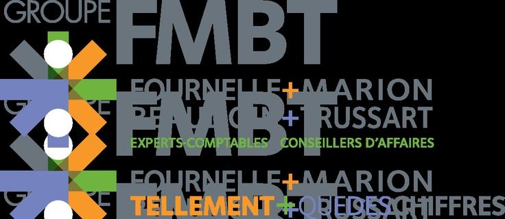 Firme de comptables FMBT. Le logo représente les symboles d'équations + – x ÷. Les couleurs, dans son ensemble, représente la divdersité des services, plus spécifiquement : l'orange : la chaleur de l'accueil, le gris : le professionnalisme, le bleu : l'expertise ainsi qu'avec sa forme de flèche indiquant ves le haut, la prospérité de votre entreprise, le vert : l'écoute du client... Tellement plus que des chiffres!