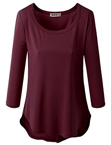 Womens 3/4 Long Sleeve Round Neck Unbalace Top