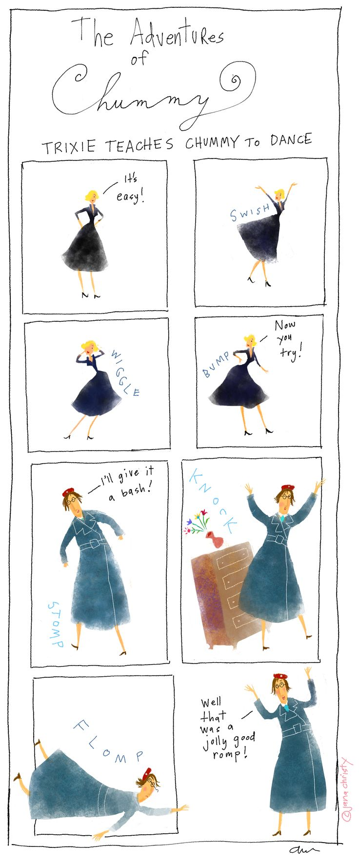 """""""The Adventures of Chummy: Trixie Teaches Chummy to Dance"""" - Jana Christy Illustrations #AETN #BeMore"""