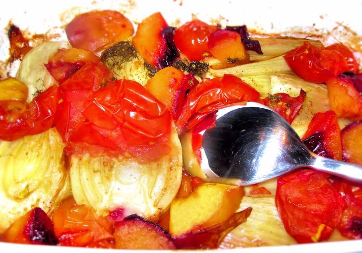 Baked fennel with plums