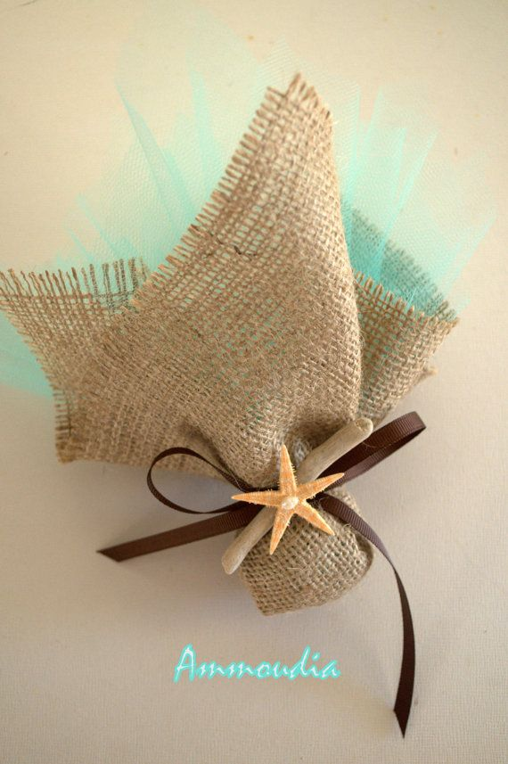 Beach wedding favor-natural burlap filled with candies,starfish and driftwood-beach baby shower favor-bridal shower-Greek baptism bomboniere on Etsy, $4.00