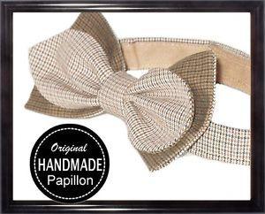 Papillon-Uomo-Beige-Artigianale-Regolabile-Bow-tie-Handmade-Classico-Nuovo