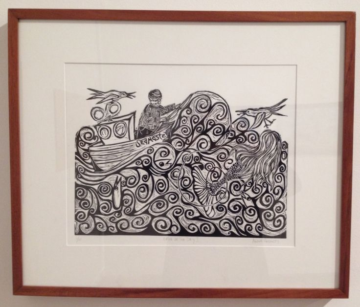 Linocut 'Catch of the Day I', Annie Hegarty, 2014