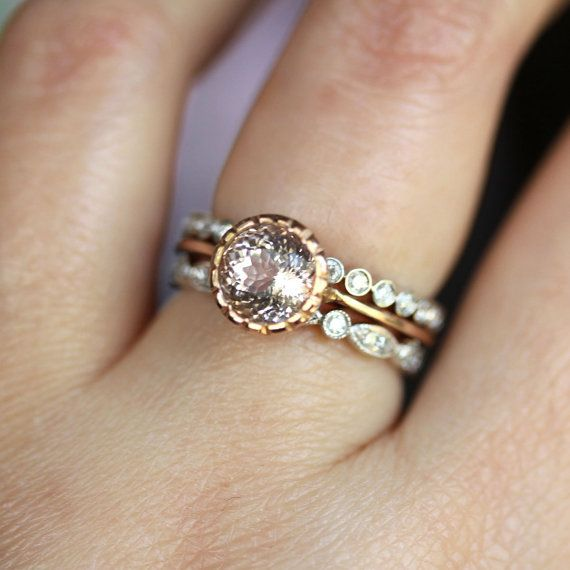 baby light pink wedding 3 band three diamond tiny handmade alternative eco Morganite Milgrain Engagement RIng In 14K Gold by louisagallery