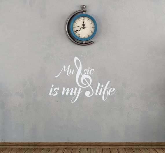 Wall Decals Music Is My Life Quote Vinyl Sticker Decal Home Decor Treble Clef Notes Bedroom Dorm aa106