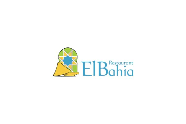 Logo for El Bahia Restaurant by me, showing the traditional Tajin (moroccan food) and a moroccan pattern in the background wich called Zellij.